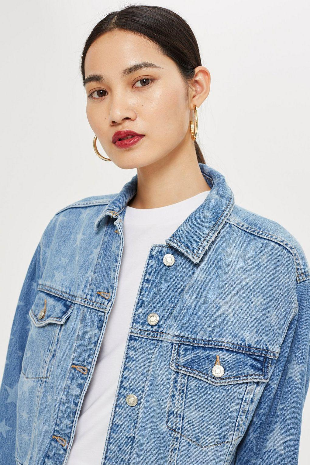 cbd66b26e TOPSHOP Moto Laser Star Print Boxy Denim Jacket in Blue - Lyst