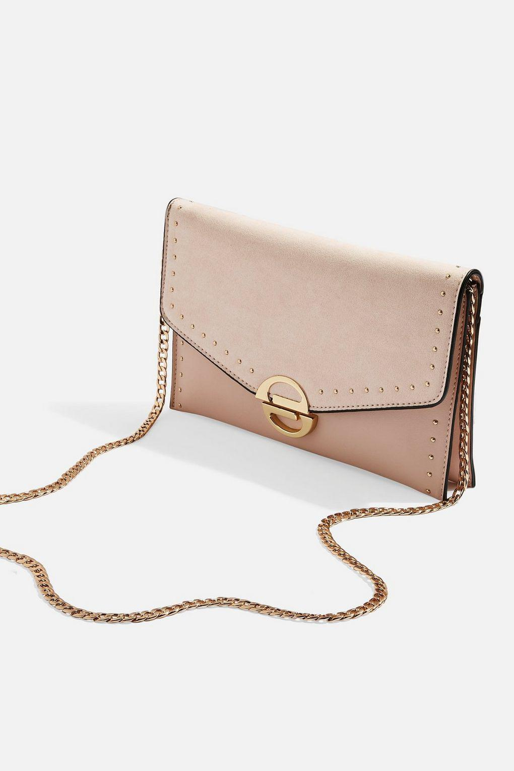 Lyst - TOPSHOP Nude Candice Stud Clutch Bag in Natural c7241373ae370