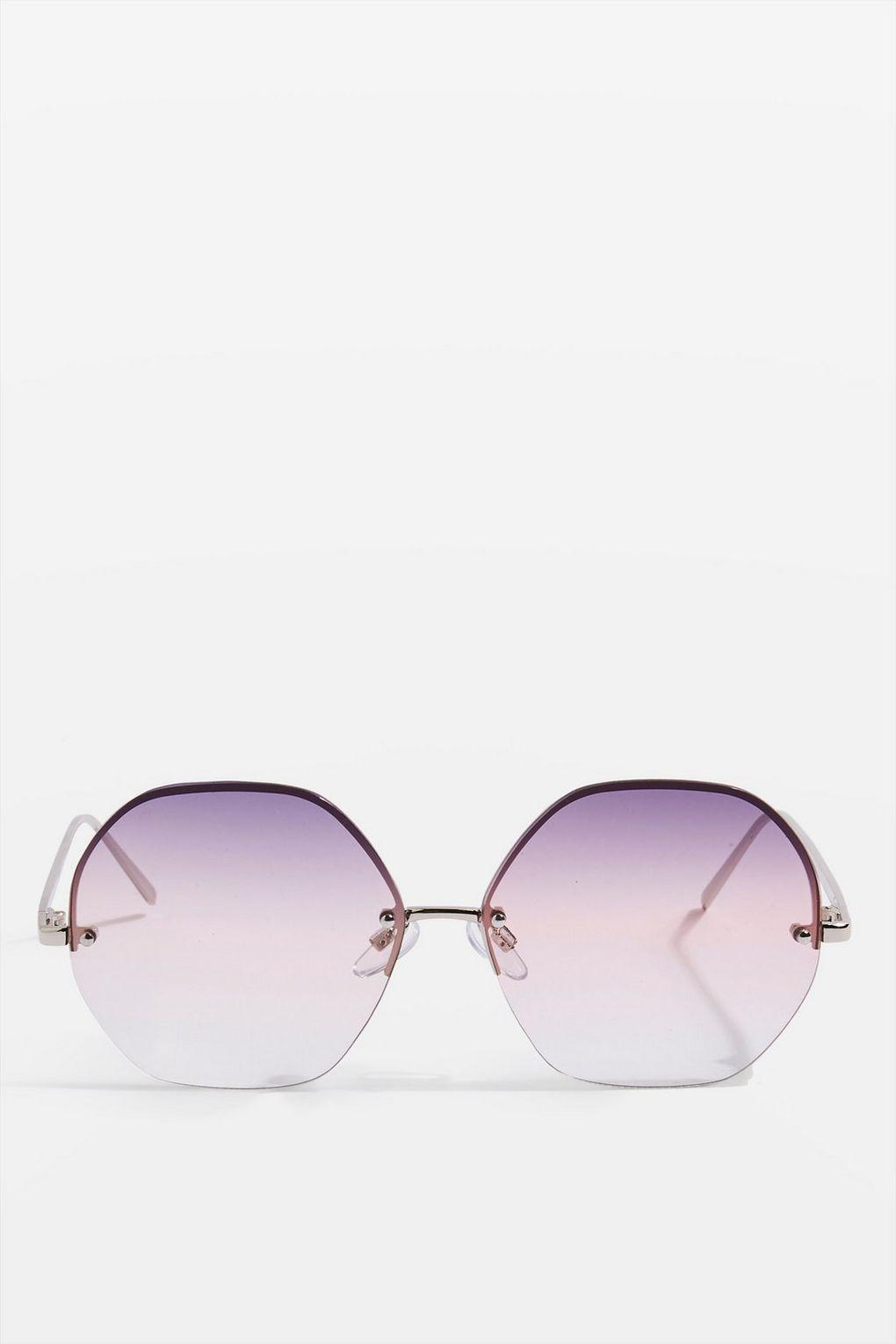 TOPSHOP Melissa Hexagon Frame Sunglasses in Purple