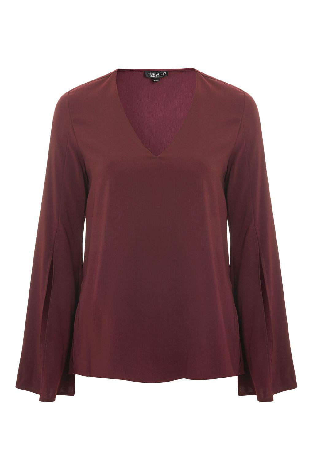 TOPSHOP Synthetic V-neck Tunic Blouse in Oxblood (Purple)