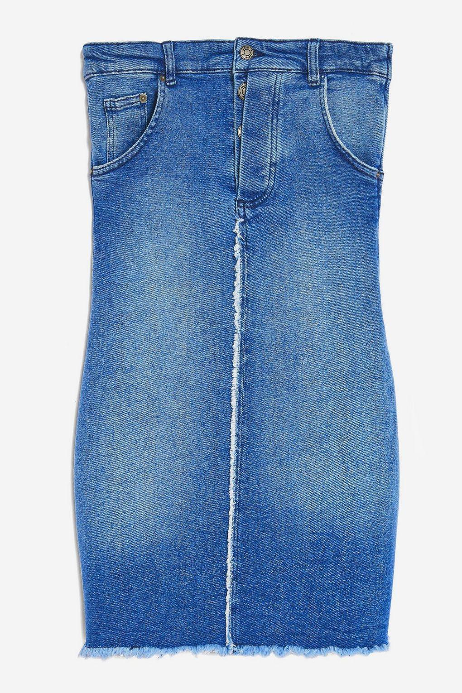 b6bc0381ad Jaded London Denim Bandeau Mini Dress By in Blue - Lyst