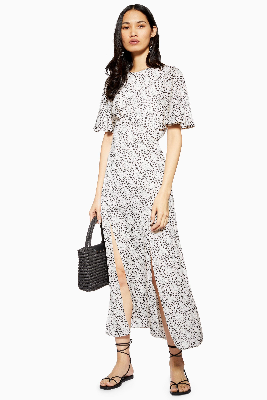 d4977a16da TOPSHOP Austin Star Print Angel Sleeve Midi Dress in White - Lyst