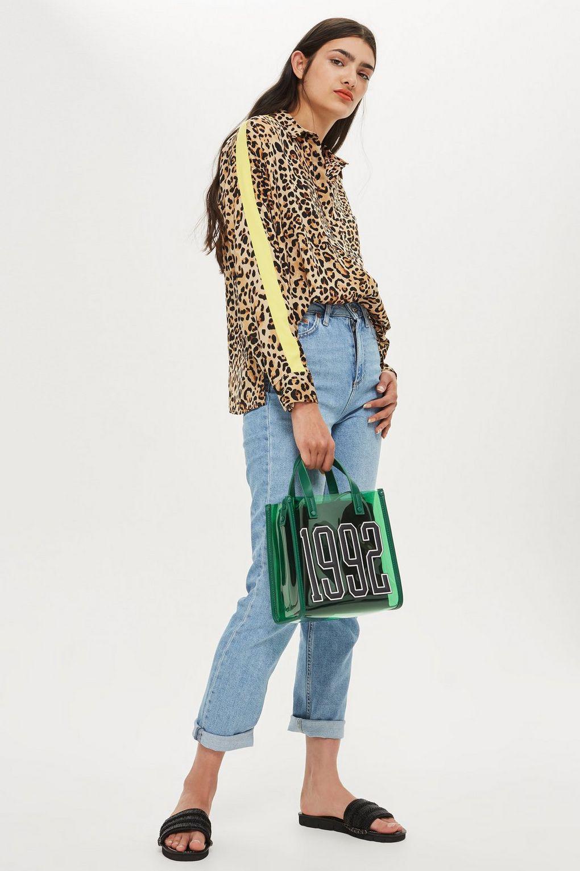18f361b728a TOPSHOP Multicolor Leopard Print Side Striped Shirt