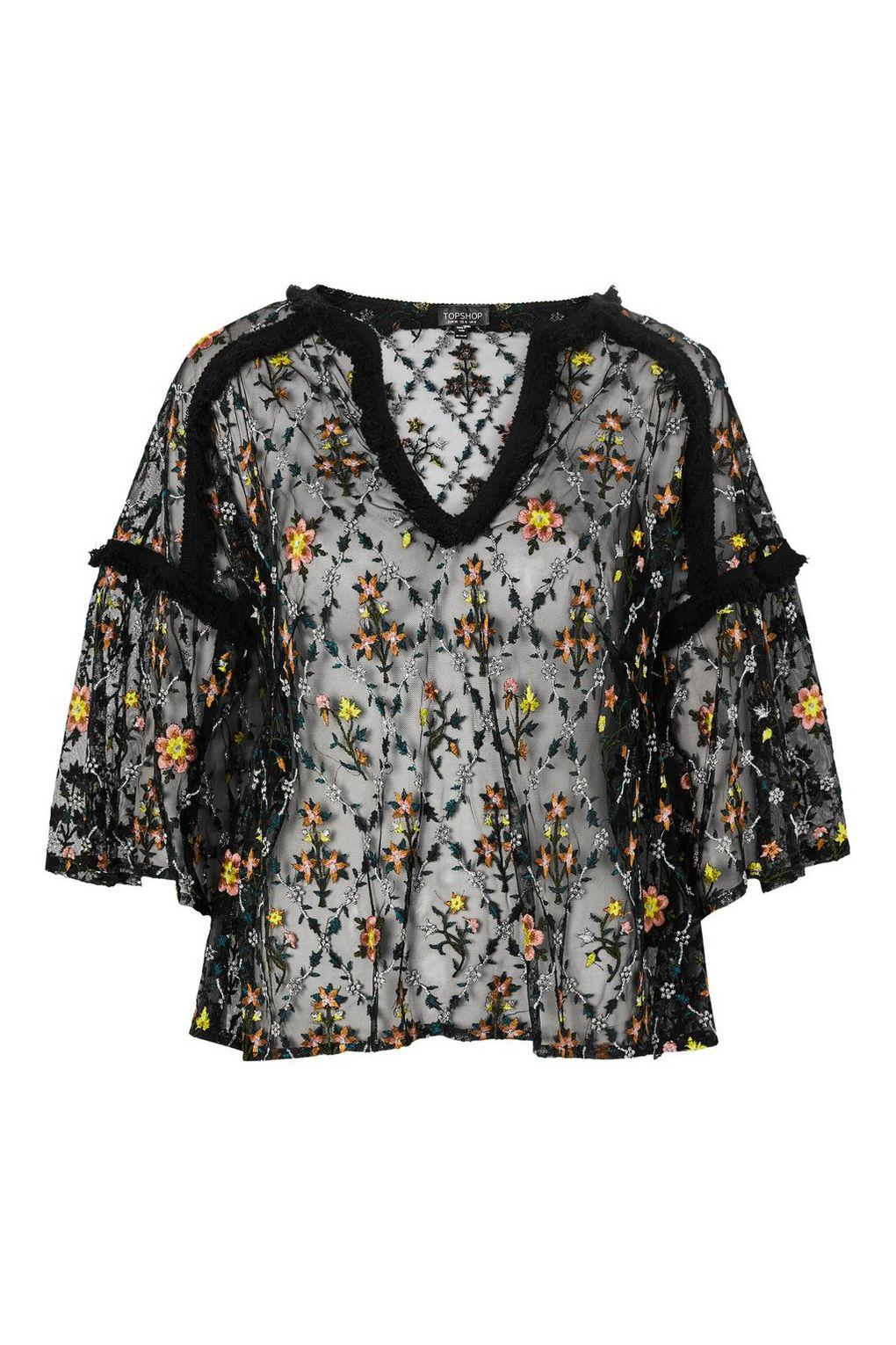 TOPSHOP Synthetic Metallic Floral Top in Black