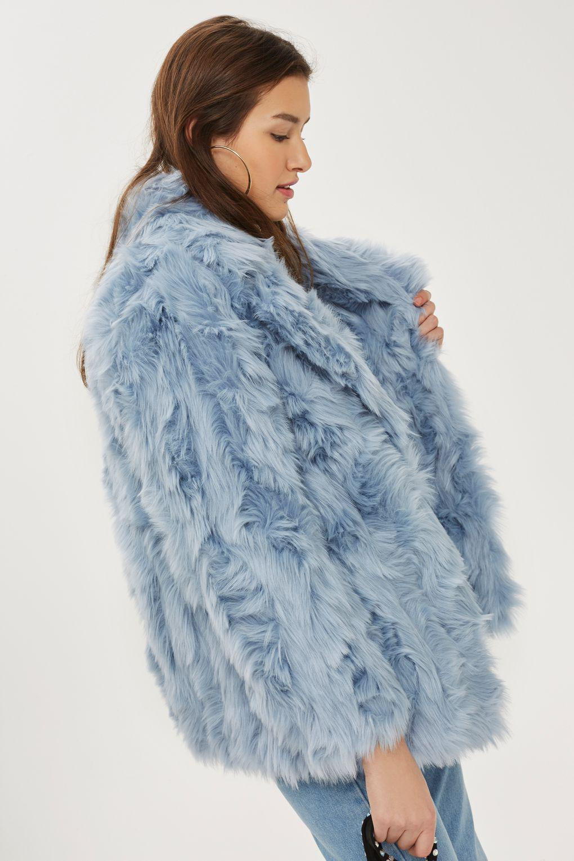 Topshop Textured Faux Fur Coat In Blue Lyst