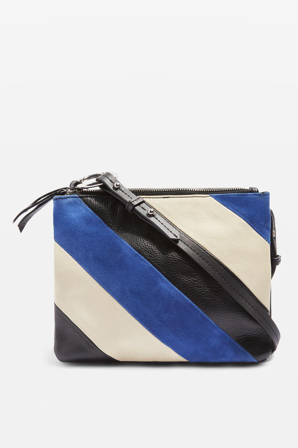 d4c793494f TOPSHOP Premium Leather Striped Cross Body Bag in Blue - Lyst