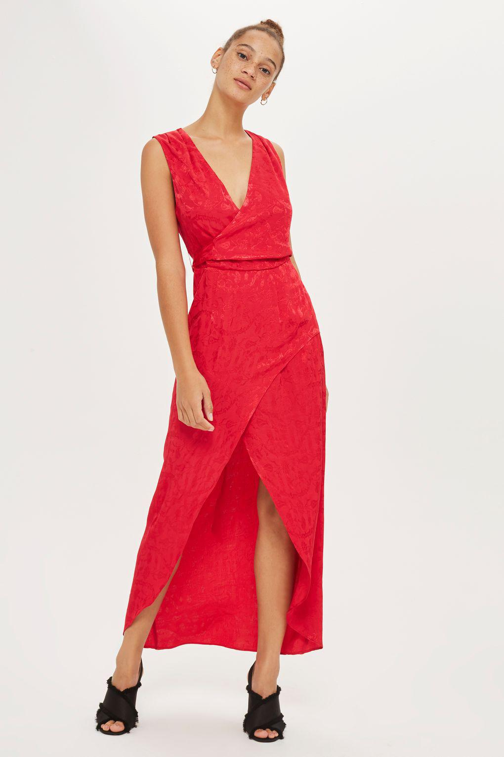 e4829111f0 TOPSHOP Jacquard Sleeveless Wrap Dress in Red - Lyst