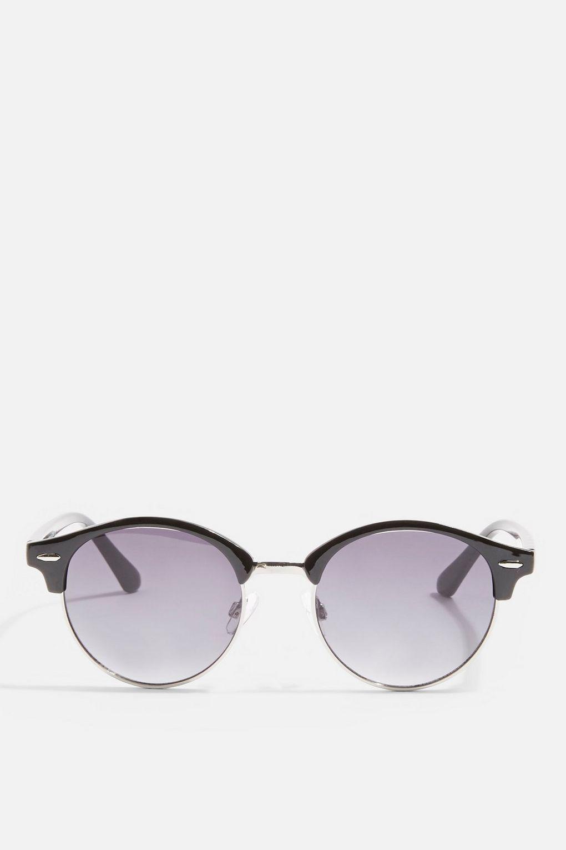 TOPSHOP Carlos Flat Lens Sunglasses in Black