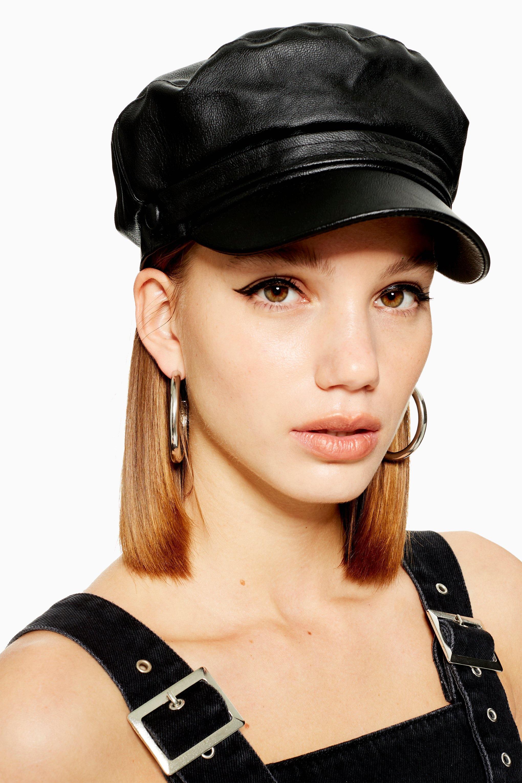 76ffdf568b9 Lyst - TOPSHOP Pu Baker Boy Hat in Black