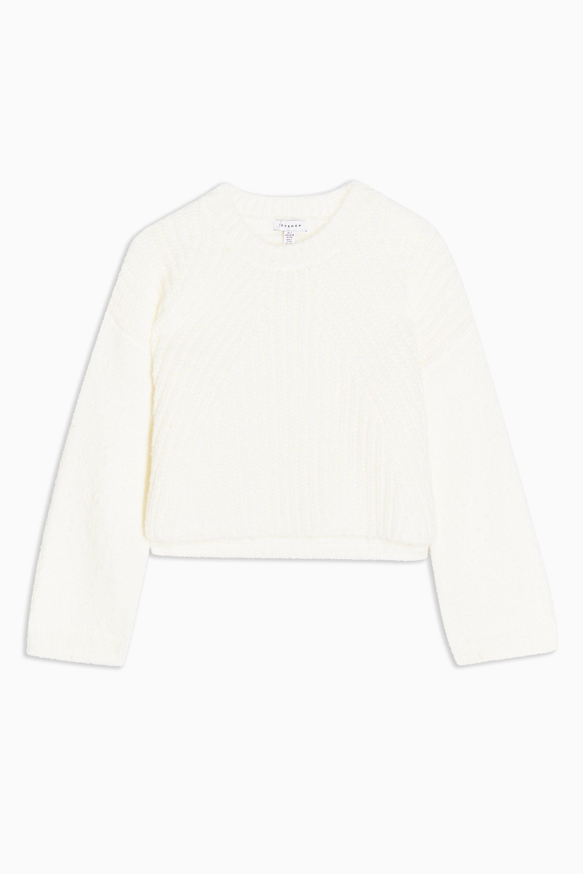 official online here catch TOPSHOP Synthetic Chevron Neppy Cropped Jumper in Ivory (White) - Lyst