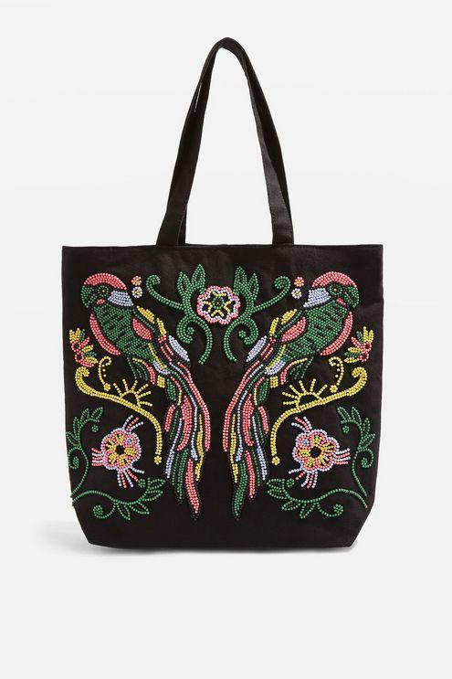 TOPSHOP Canvas Parrot Embroidered Tote Bag in Black