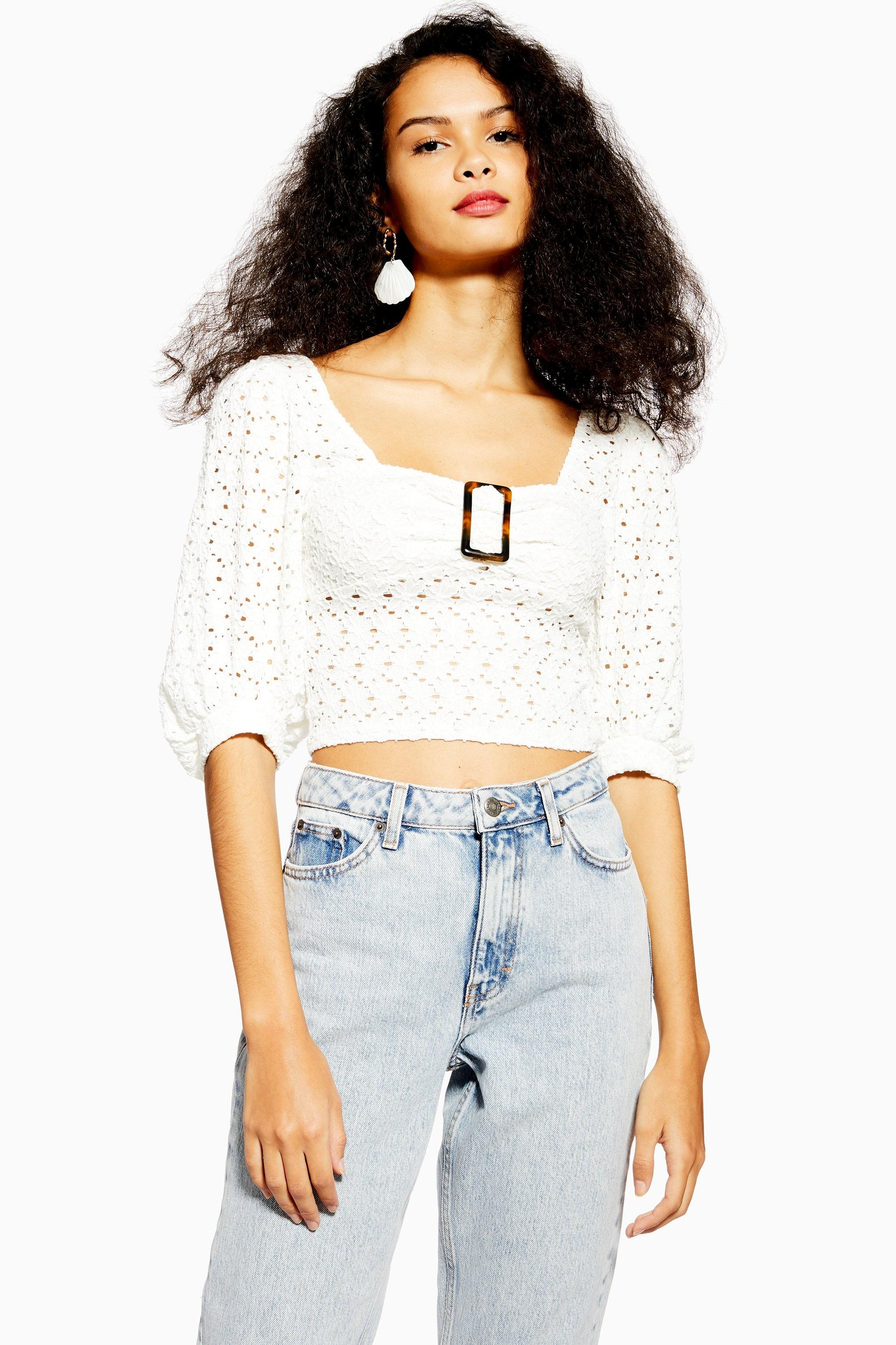 ee9313b3453 TOPSHOP Lace Buckle Puff Sleeve Top in White - Lyst
