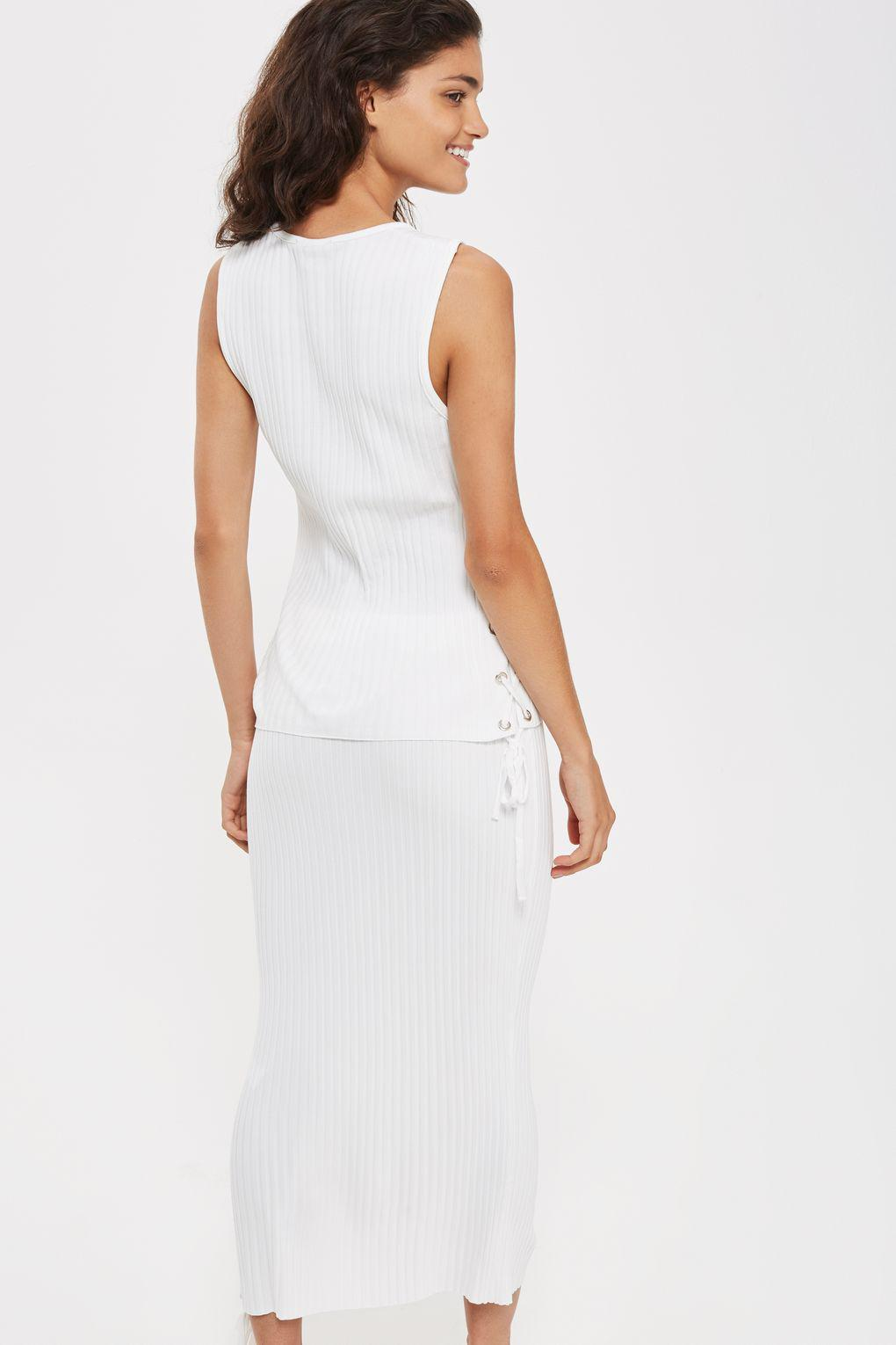 TOPSHOP Synthetic Calibrate Knit Co-ord Skirt in Ivory (White)