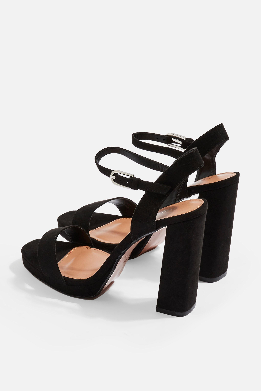 black wide fit platform sandals