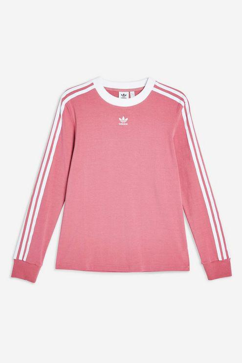 fast delivery reasonable price usa cheap sale adidas Cotton Three Stripe Long Sleeve T-shirt By in Dark Pink ...