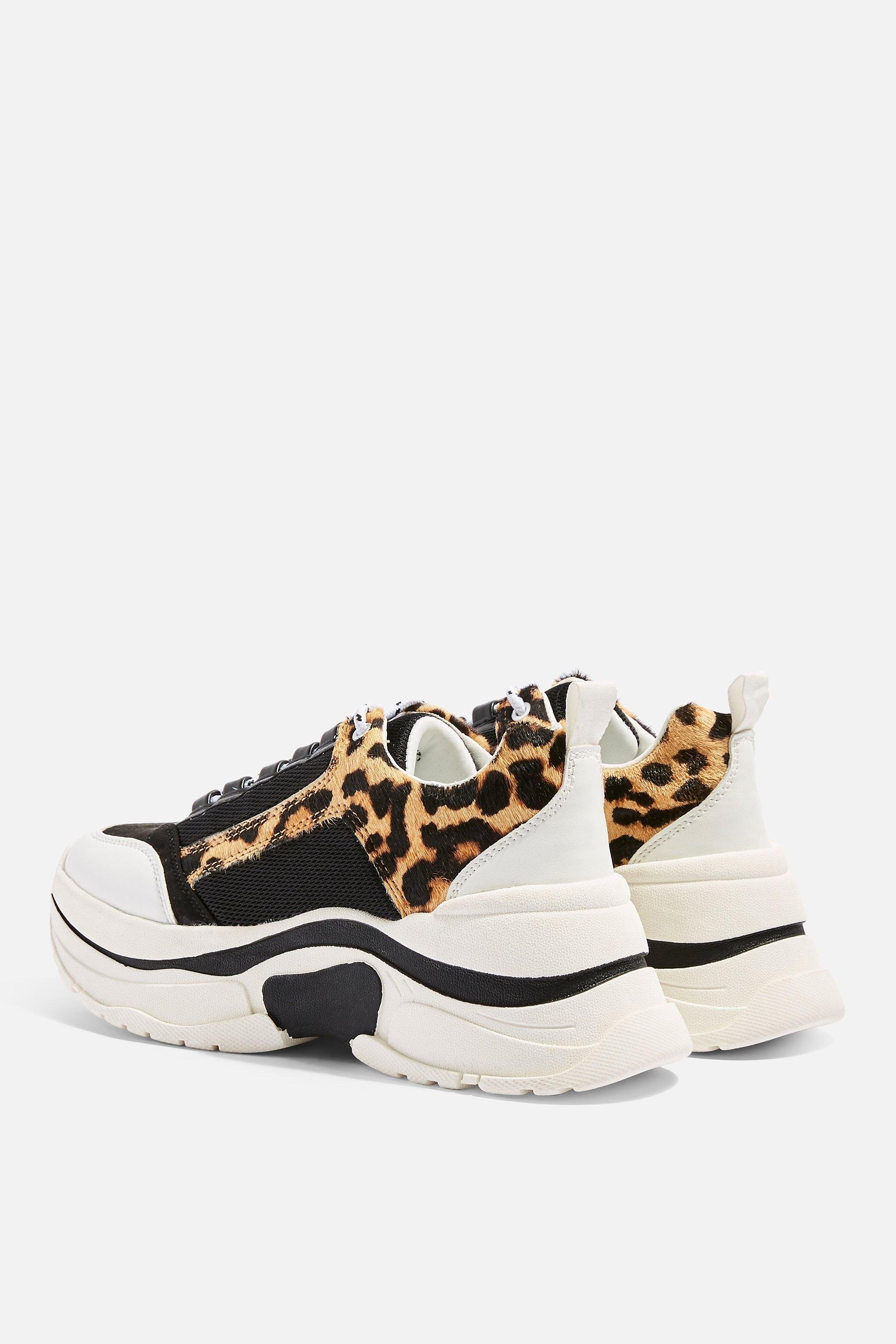 ce82ad42243d TOPSHOP Celina Leopard Chunky Trainers - Lyst