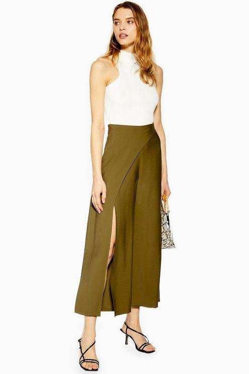 3d258013865 TOPSHOP Slash Palazzo Trousers in Green - Lyst