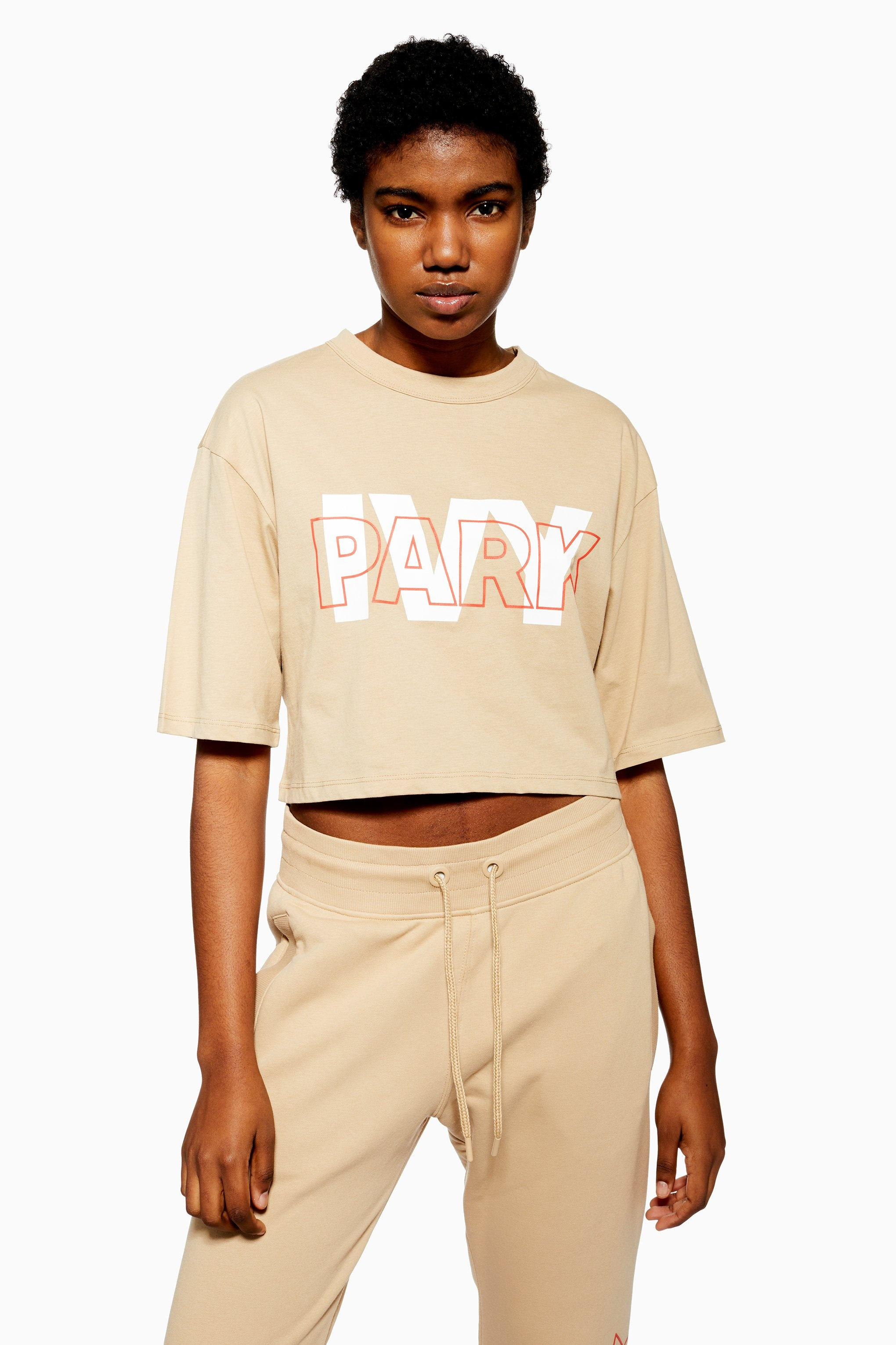 55e1d689 Lyst - Ivy Park Layer Logo Cropped T-shirt By in Natural
