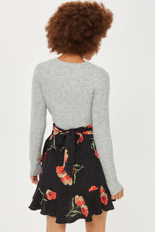 lyst topshop spot flower ruffle mini skirt in black