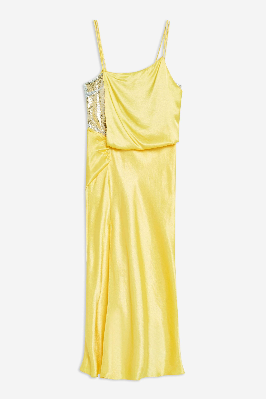 58f5b51519b TOPSHOP - Yellow Embroidered Panel Satin Slip Dress - Lyst. View fullscreen