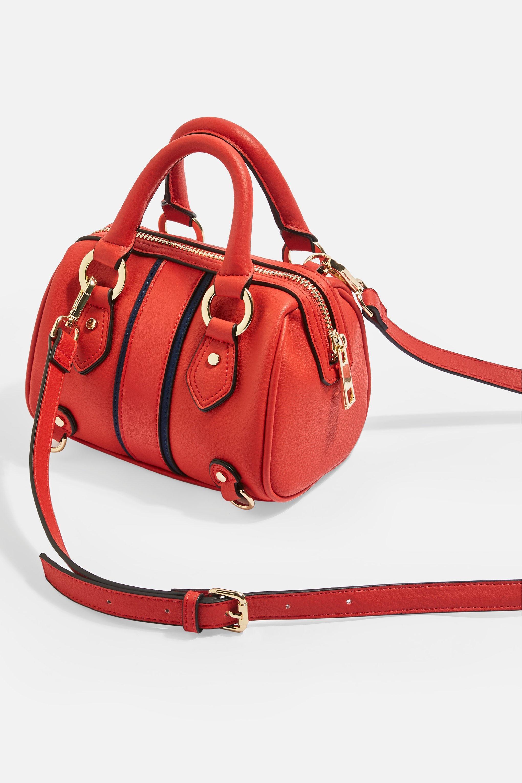 faa94a7fec48 TOPSHOP - Red Stripe Faux Leather Mini Bowler Bag - Lyst. View fullscreen