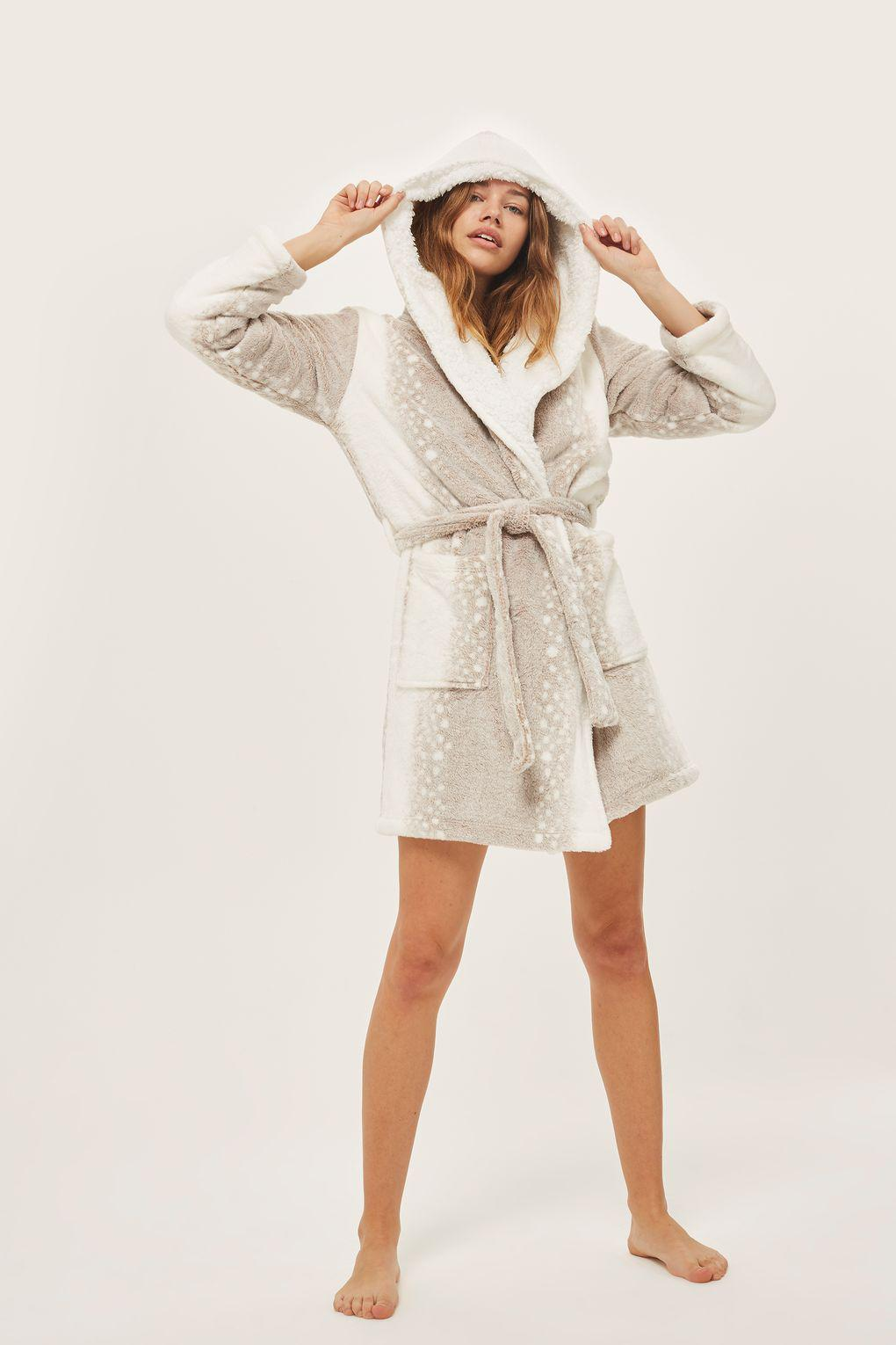 Womens Topshop Snow Leopard Print Fleece Hooded Short Robe, Size Small - White Womens Topshop Snow Leopard Print Fleece Hooded Short Robe, Size Small - White new pics