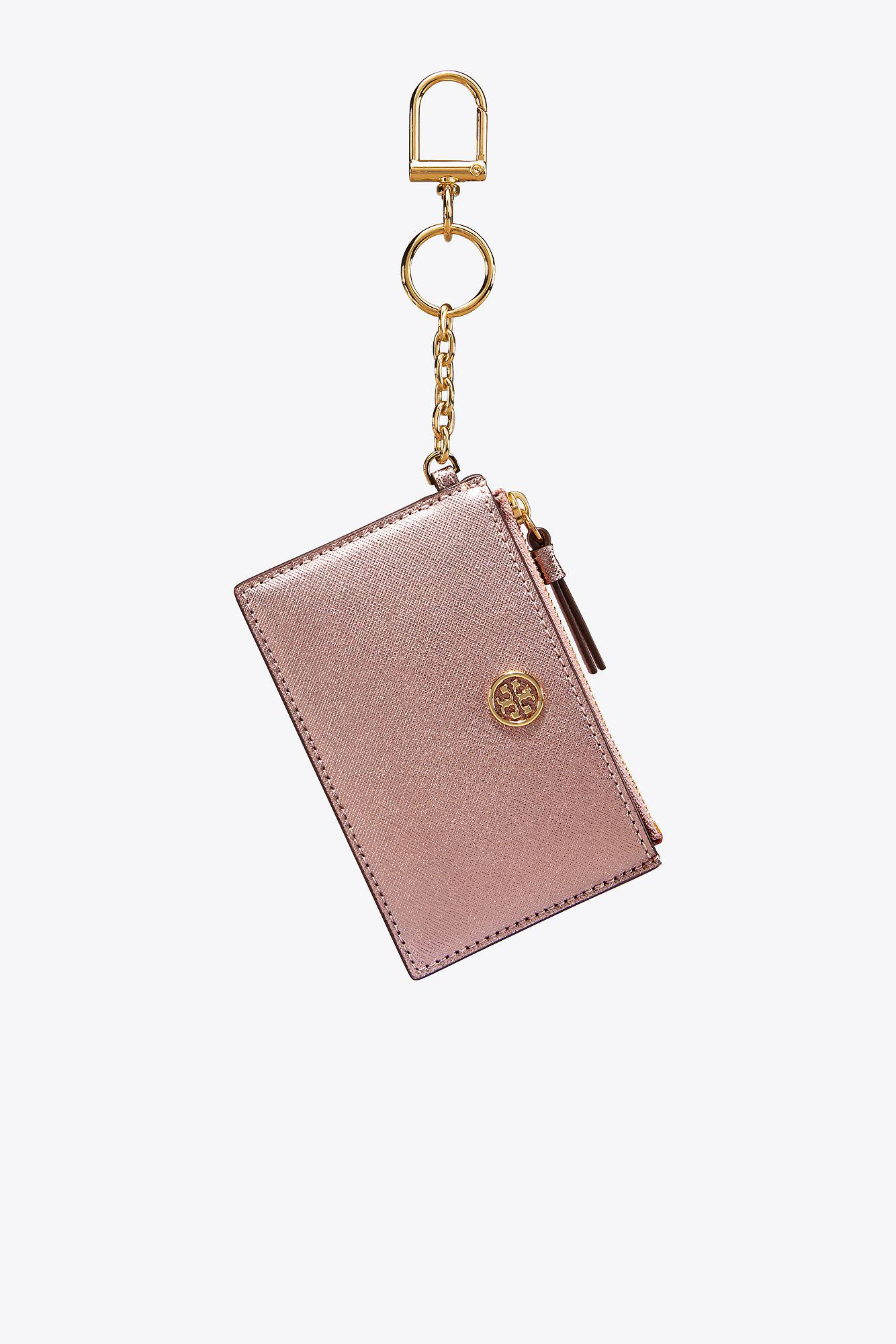 Tory Burch Leather Robinson Metallic Card Case Key Ring In Light Rose Gold Pink Lyst