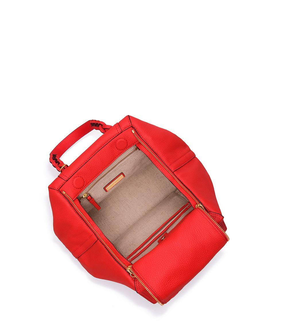 cce209bc3307 Lyst - Tory Burch Half-moon Small Satchel in Red