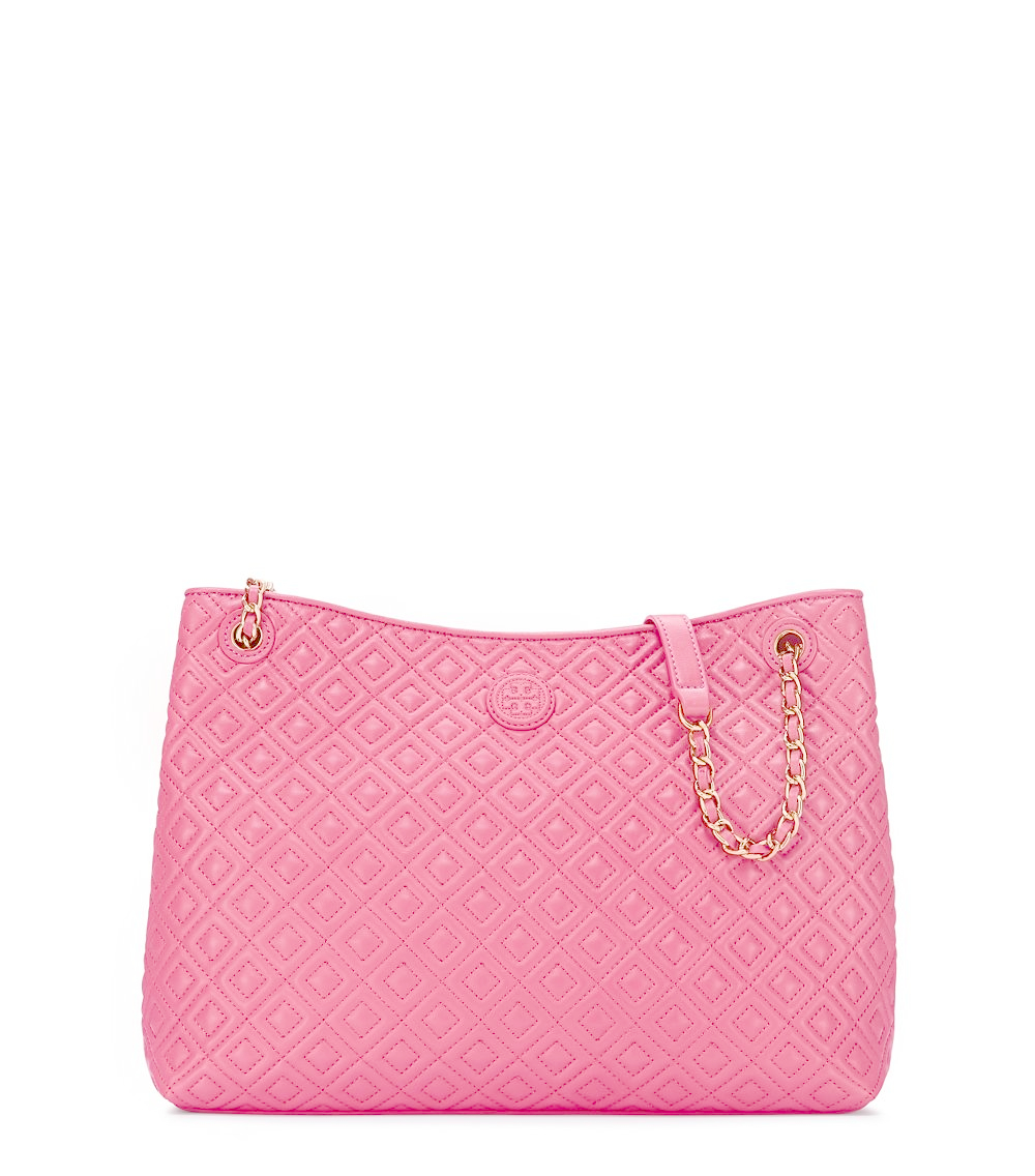 Tory Burch Marion Quilted Center Zip Tote In Pink Lyst
