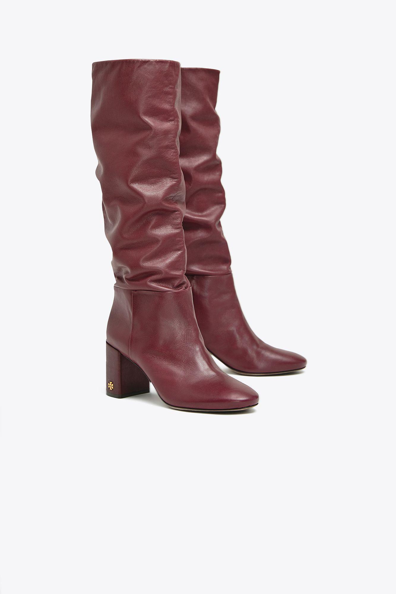 9d09f2216bfe Tory Burch Women s Brooke Slouchy Leather Tall Boots in Red - Lyst