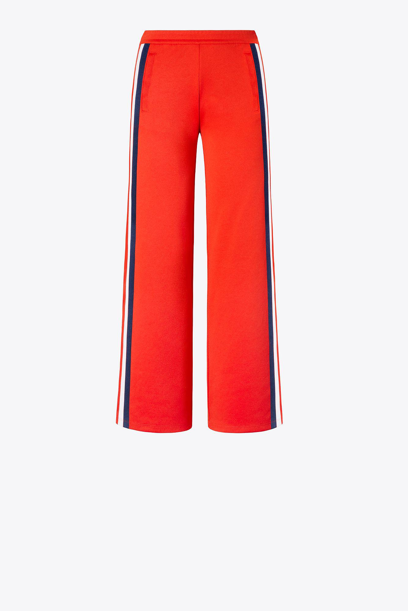 fa788e6a26674 Tory Sport Tory Burch Double-stripe Wide-leg Track Pants in Red - Lyst