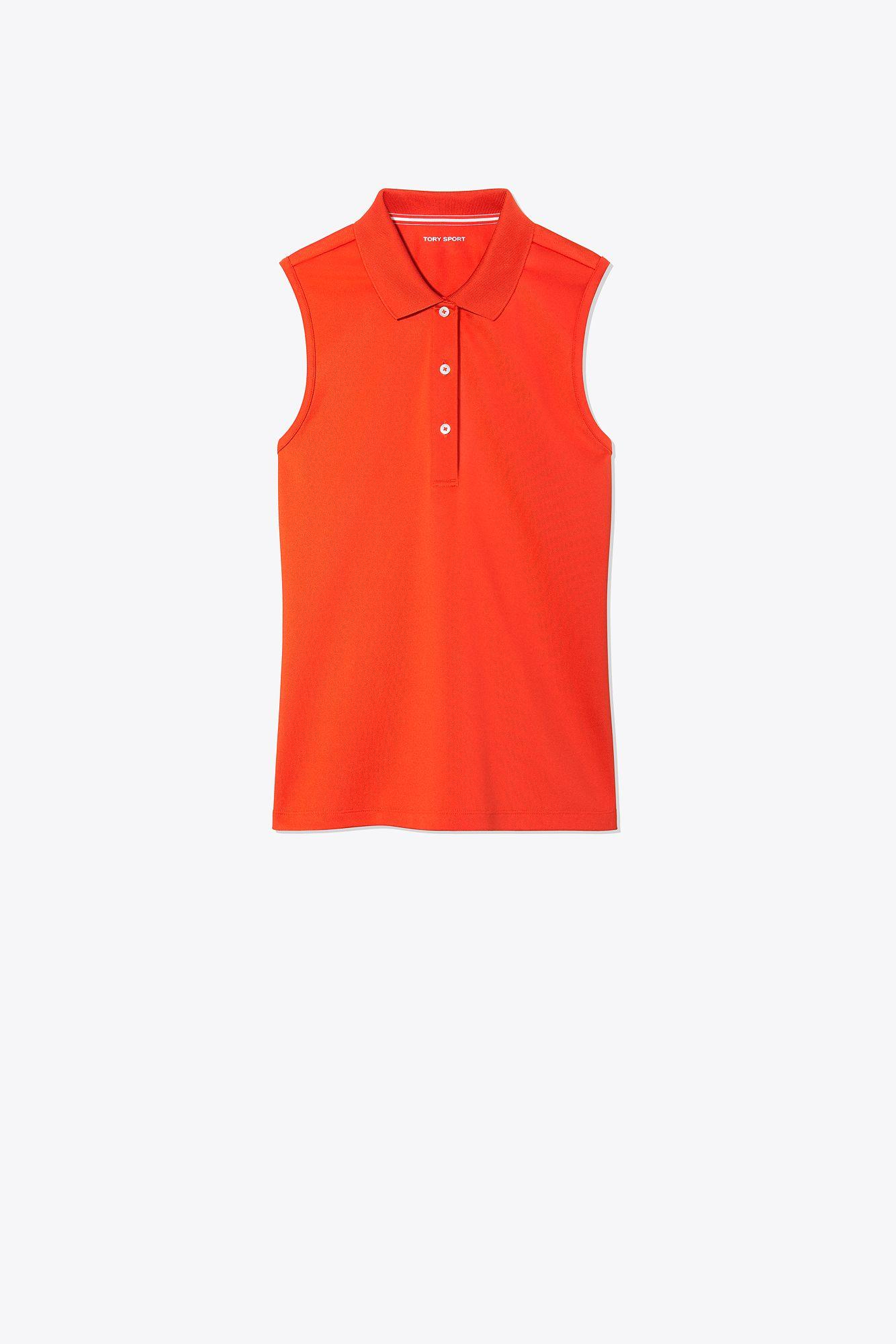 30d0ee5b85 Lyst - Tory Sport Tech Pique Sleeveless Polo in Red
