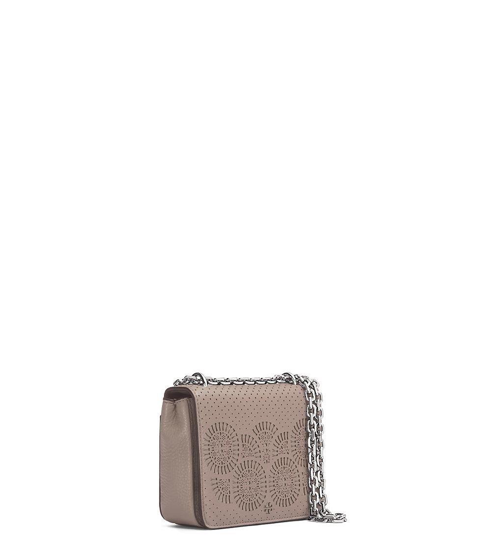 d312249e5736 Lyst - Tory Burch Zoey Mini Laser-cut Shoulder Bag in Gray