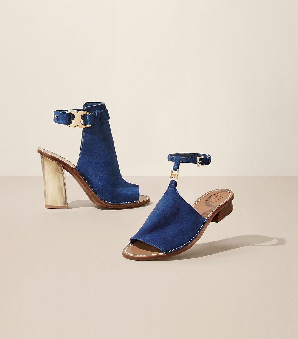 8e7691d42c92d Lyst - Tory Burch Gemini Link Peep-toe Sandal in Blue