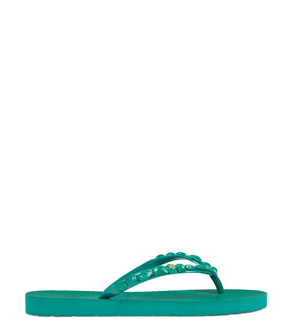 1c525169d9e4f4 Lyst - Tory Burch Jeweled Flip-flop in Green
