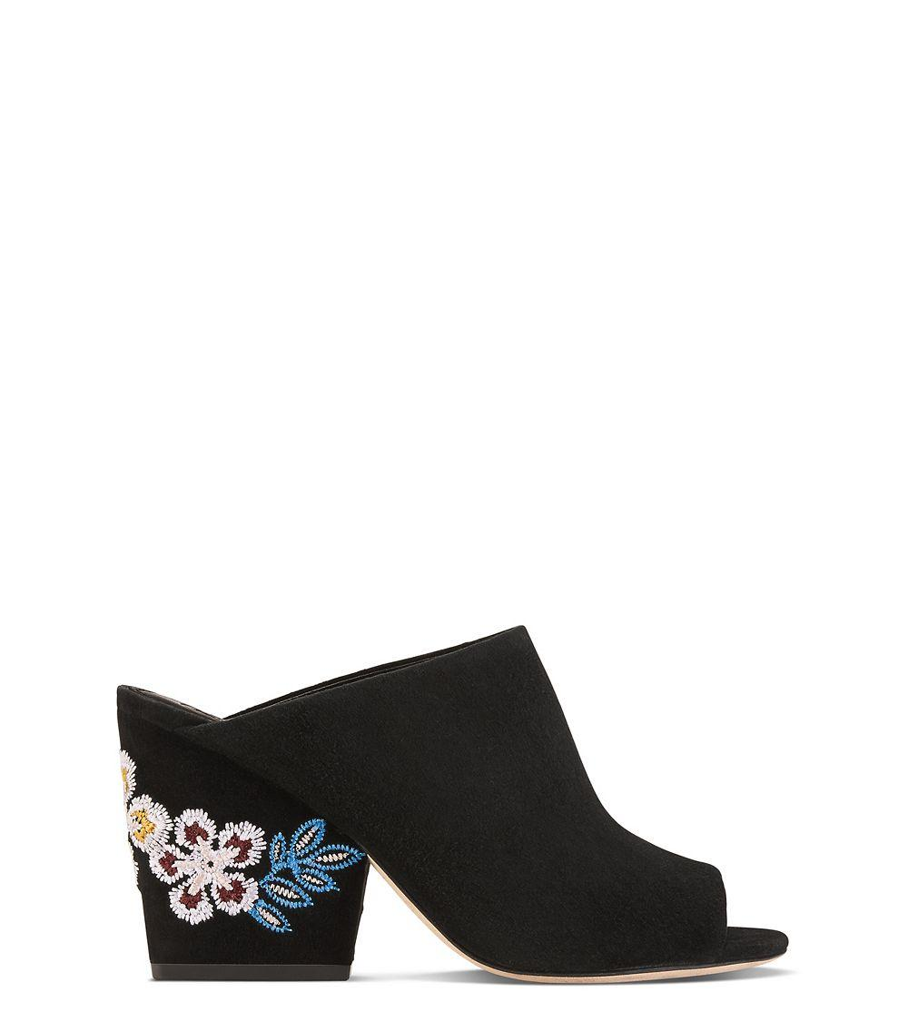 4d4fec86cd589b Lyst - Tory Burch Embroidered Floral Mule in Black