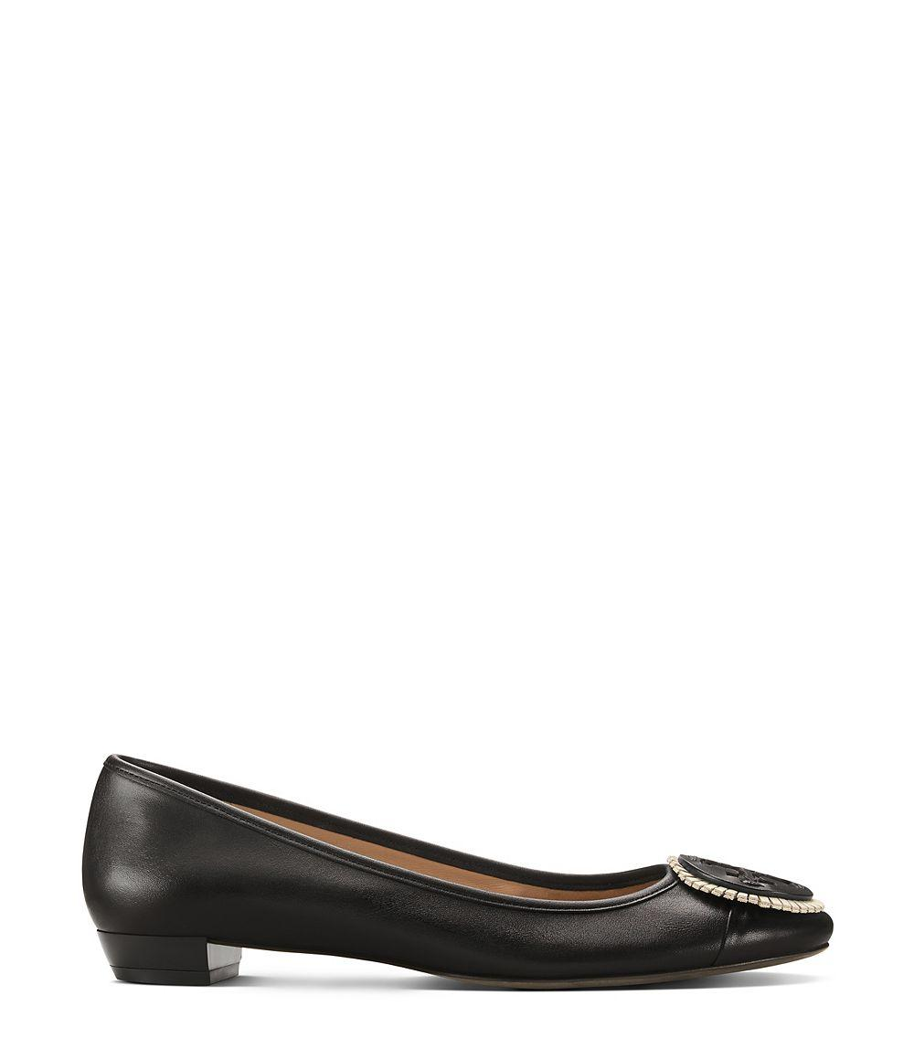Tory burch Miller Fringe Flat in Black