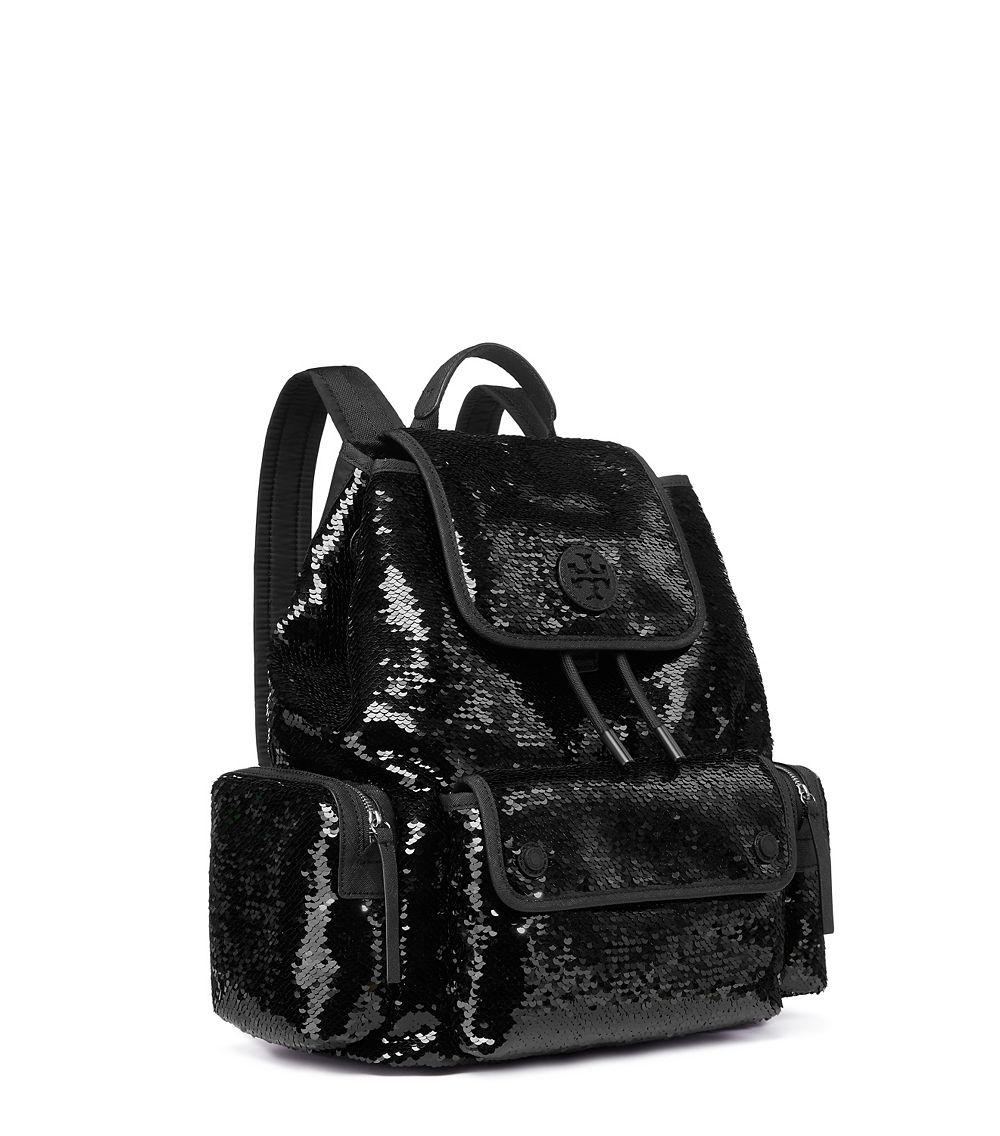 3d713a12b6f Lyst - Tory Burch Scout Sequin Backpack in Black