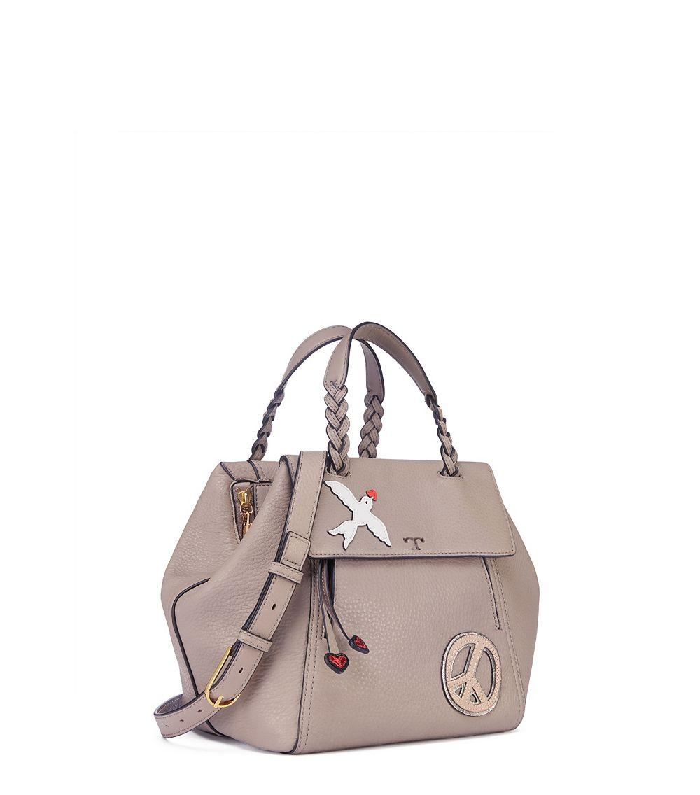25ad0ceb822 Lyst - Tory Burch Peace Embellished Half-Moon Small Leather Satchel ...