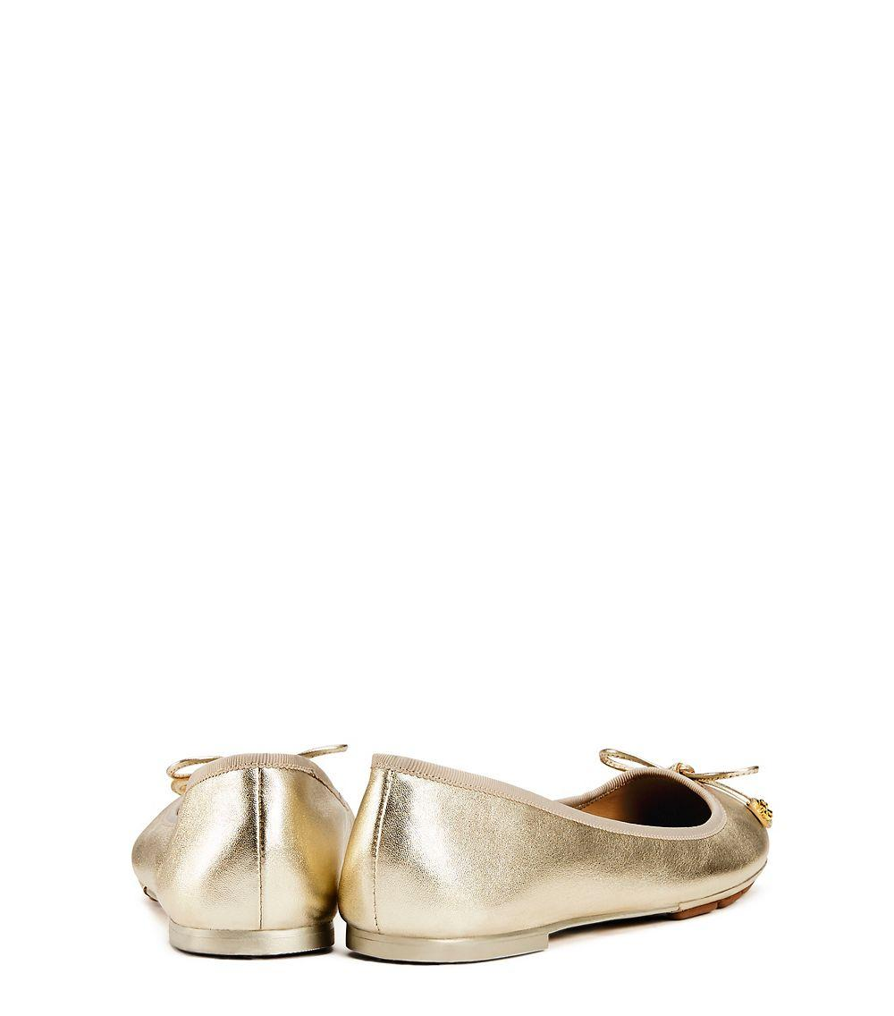 c821d0e98 Lyst - Tory Burch Laila Metallic Leather Ballet Flats in Metallic