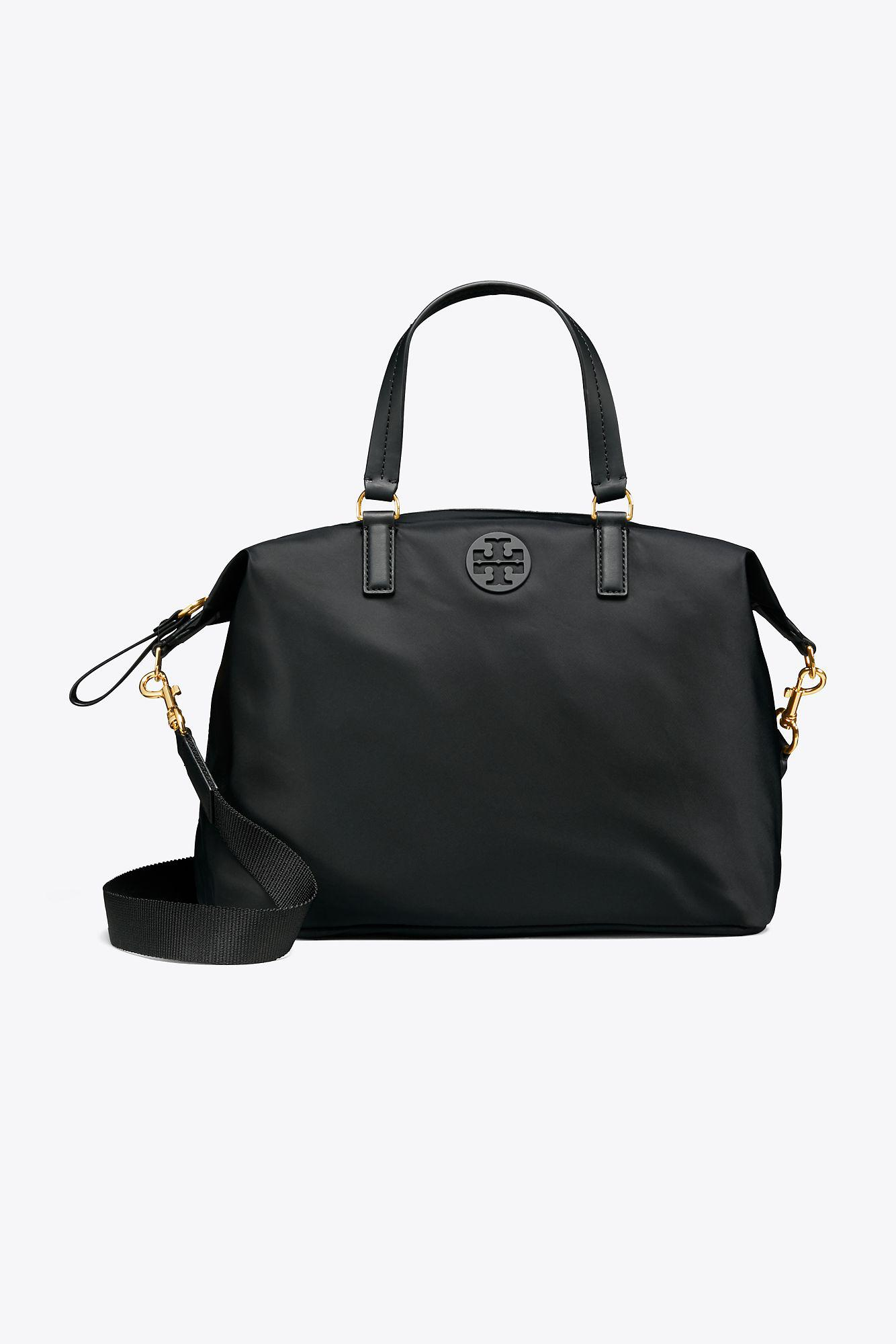 0bc21f7a75e Tory Burch Tilda Nylon Slouchy Satchel in Black - Lyst