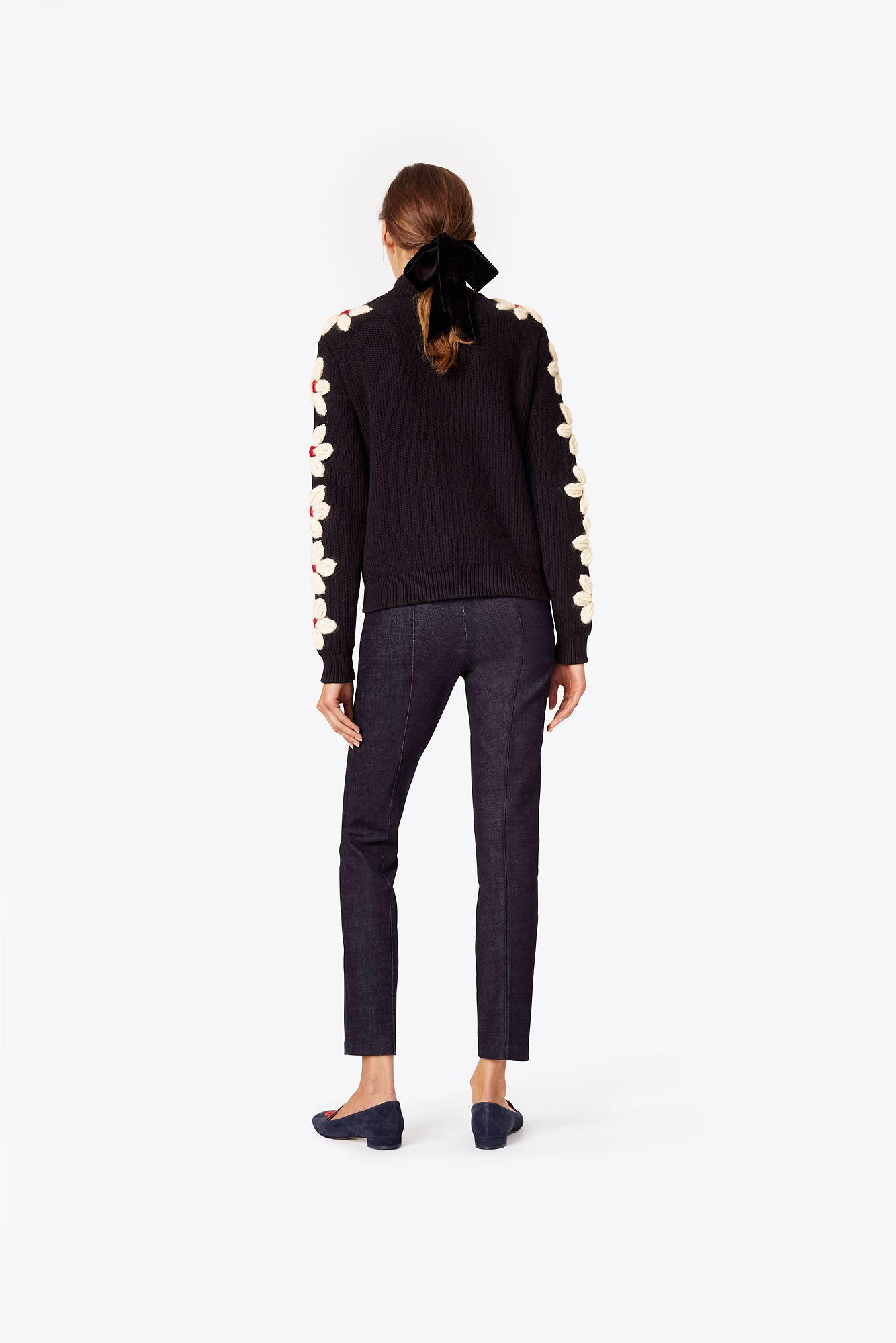 Lyst tory burch leah cardigan in blue for Tory burch fashion island