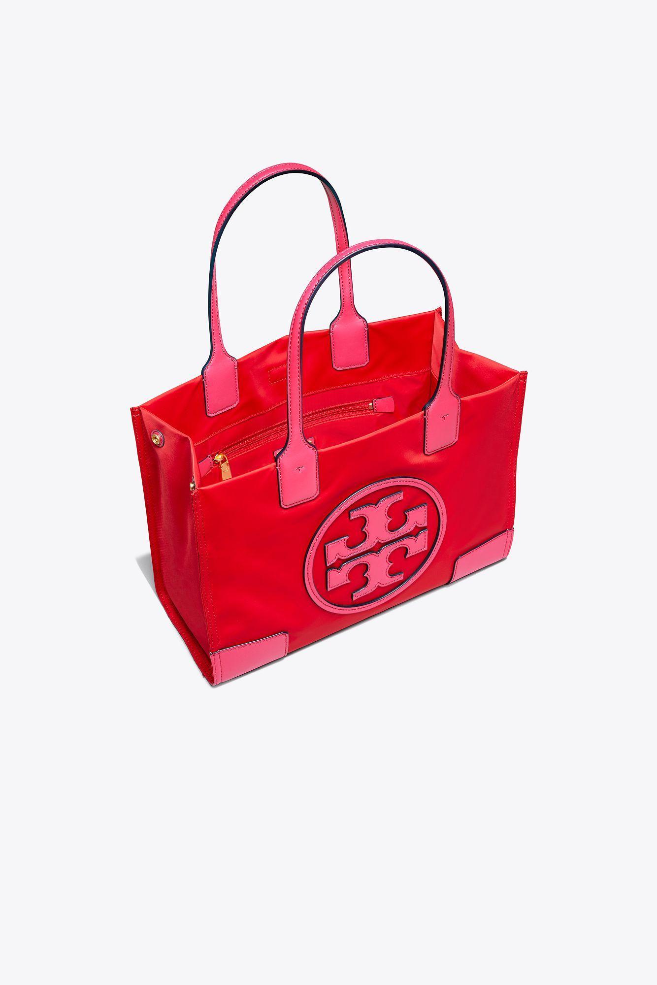Tory Burch Ella Colorblock MINI Red Azalea Pink Nylon Leather Logo Tote $178