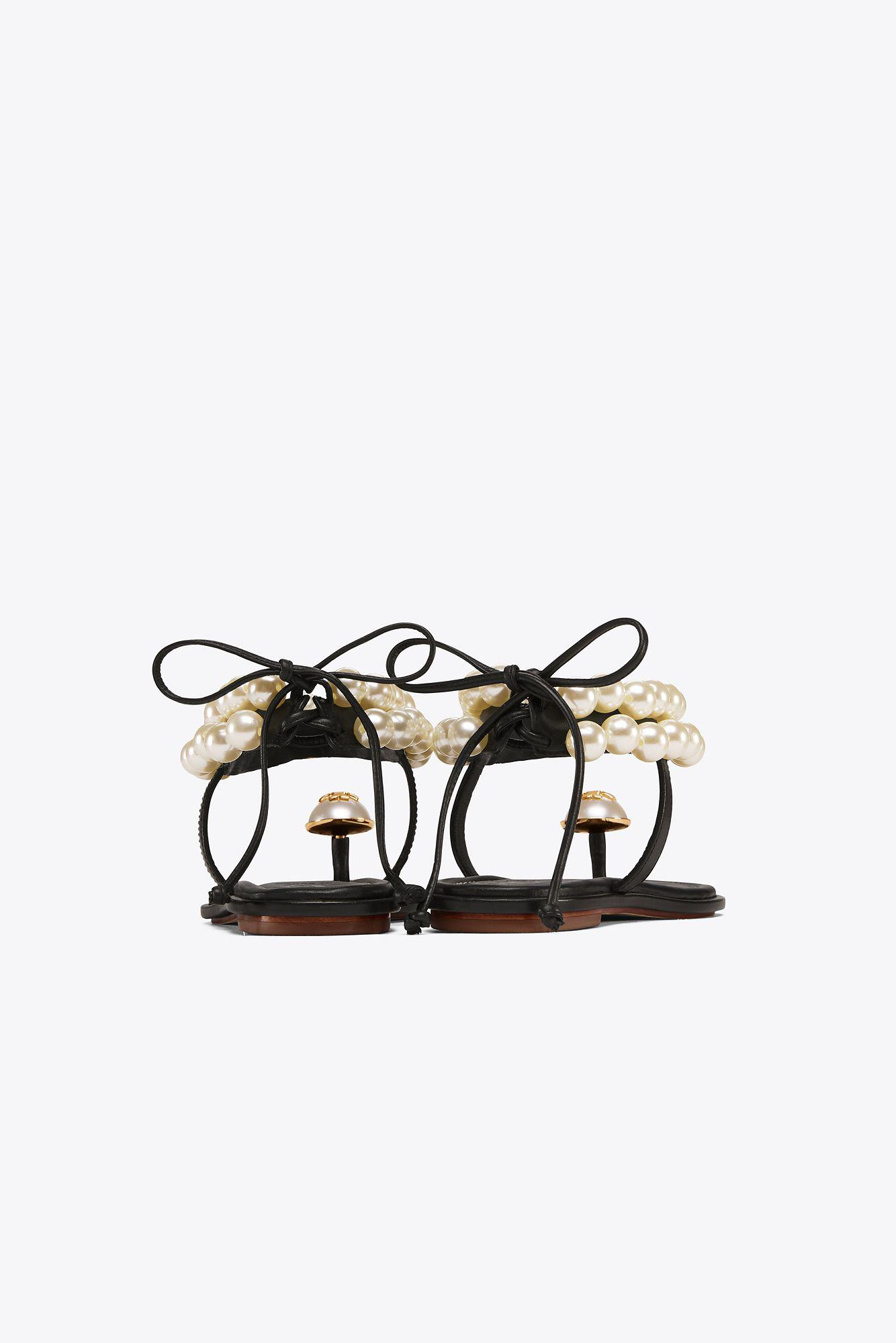 ac1c18904386 Tory Burch Melody Ankle Strap Sandal in Black - Lyst