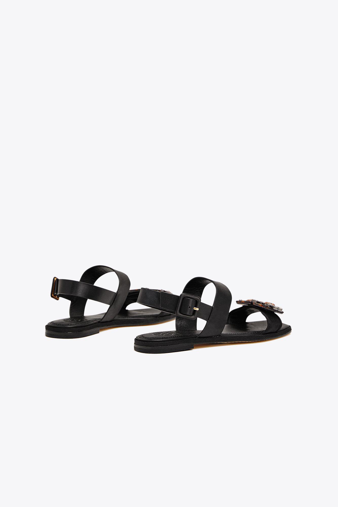372ad063420 Tory Burch - Black Delaney Embellished Flat Sandal - Lyst. View fullscreen