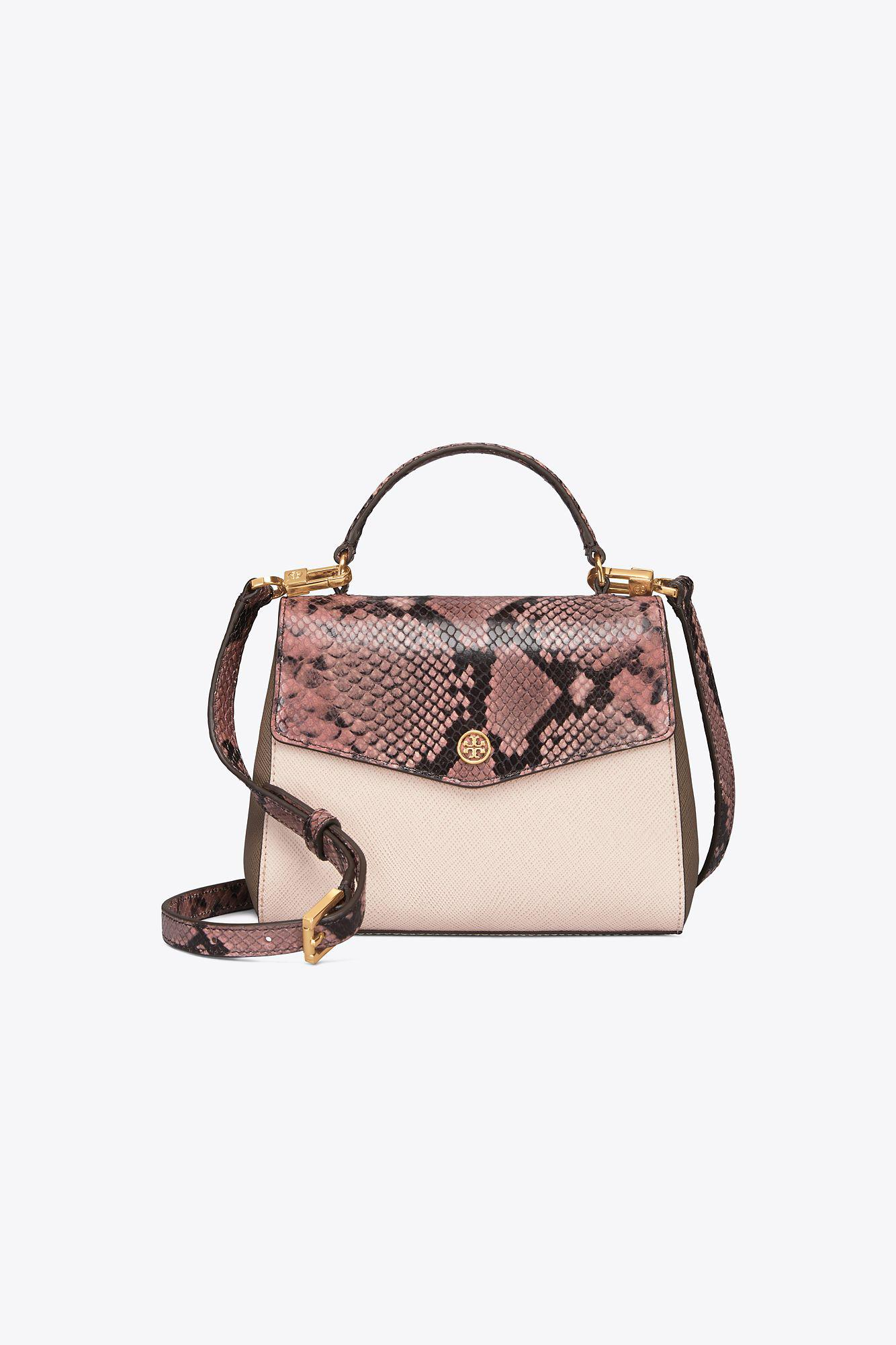 d26f85a289932 Tory Burch Robinson Mixed-materials Top-handle Satchel in Pink - Lyst