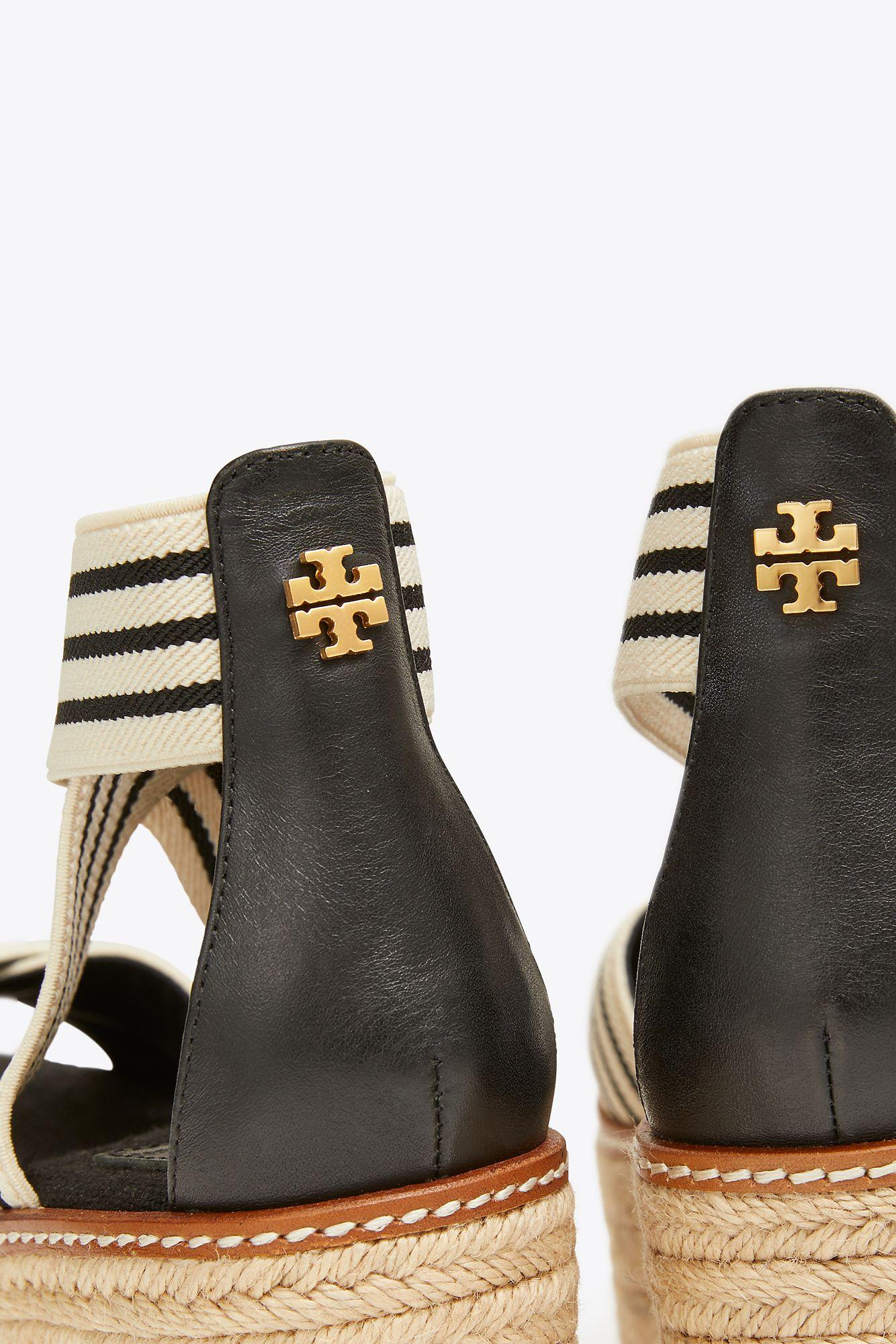 Tory Burch Canvas Frieda Mid Heels Espadrilles Sandals In