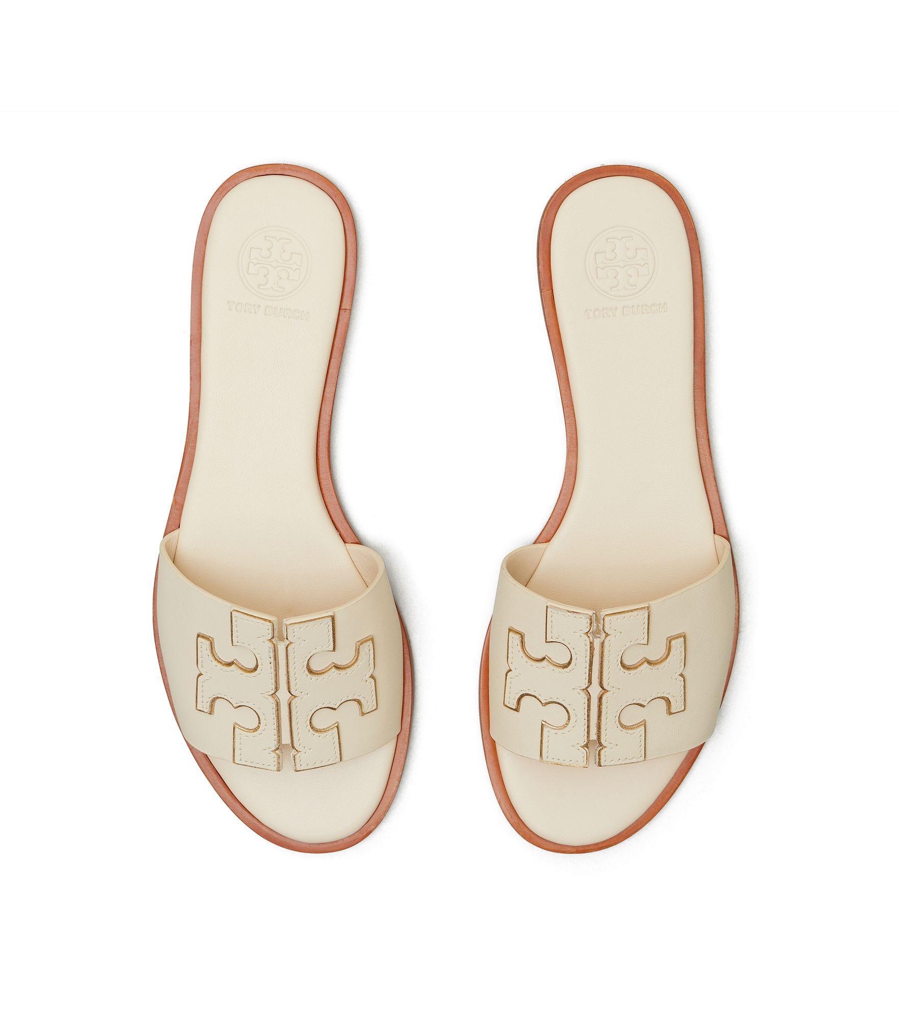 Cream Logo Sandals