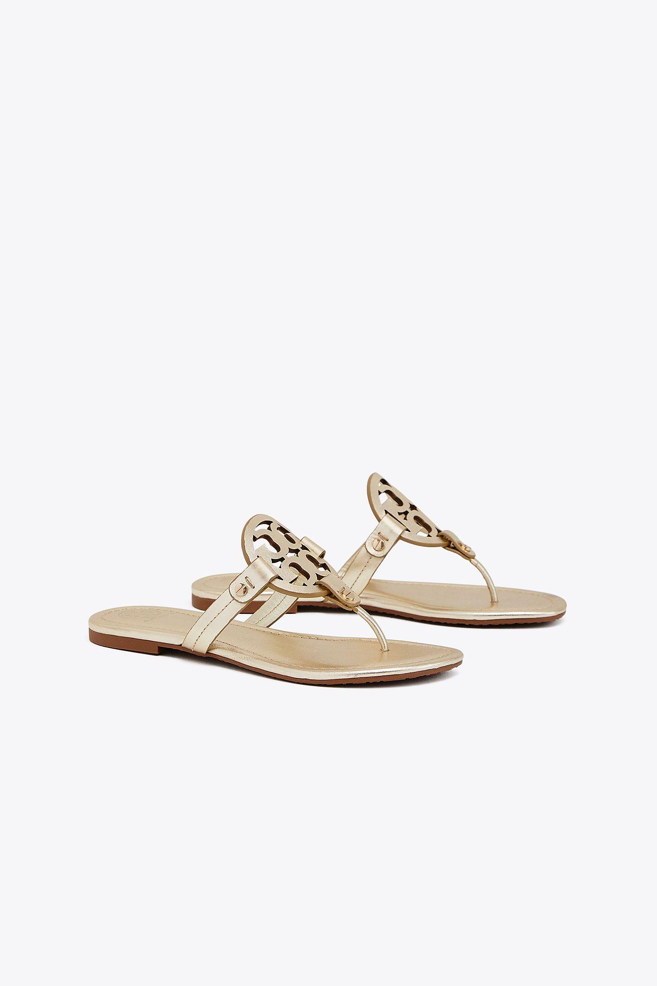 631eee606 Tory Burch Miller Leather Logo Sandal in Metallic - Save 14% - Lyst