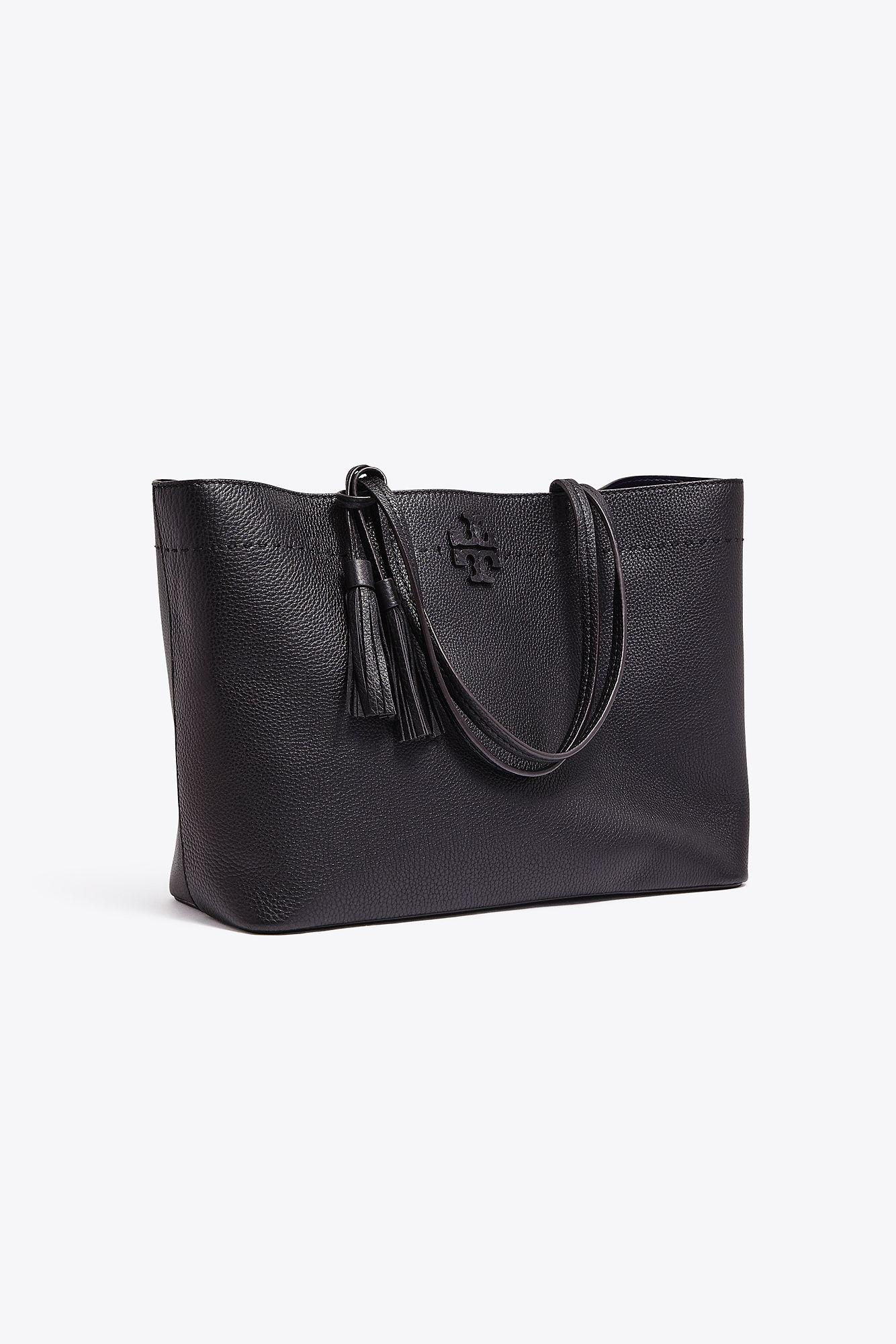 315d84daac09 Tory Burch Mcgraw Medium Leather Tote in Black - Save 5% - Lyst
